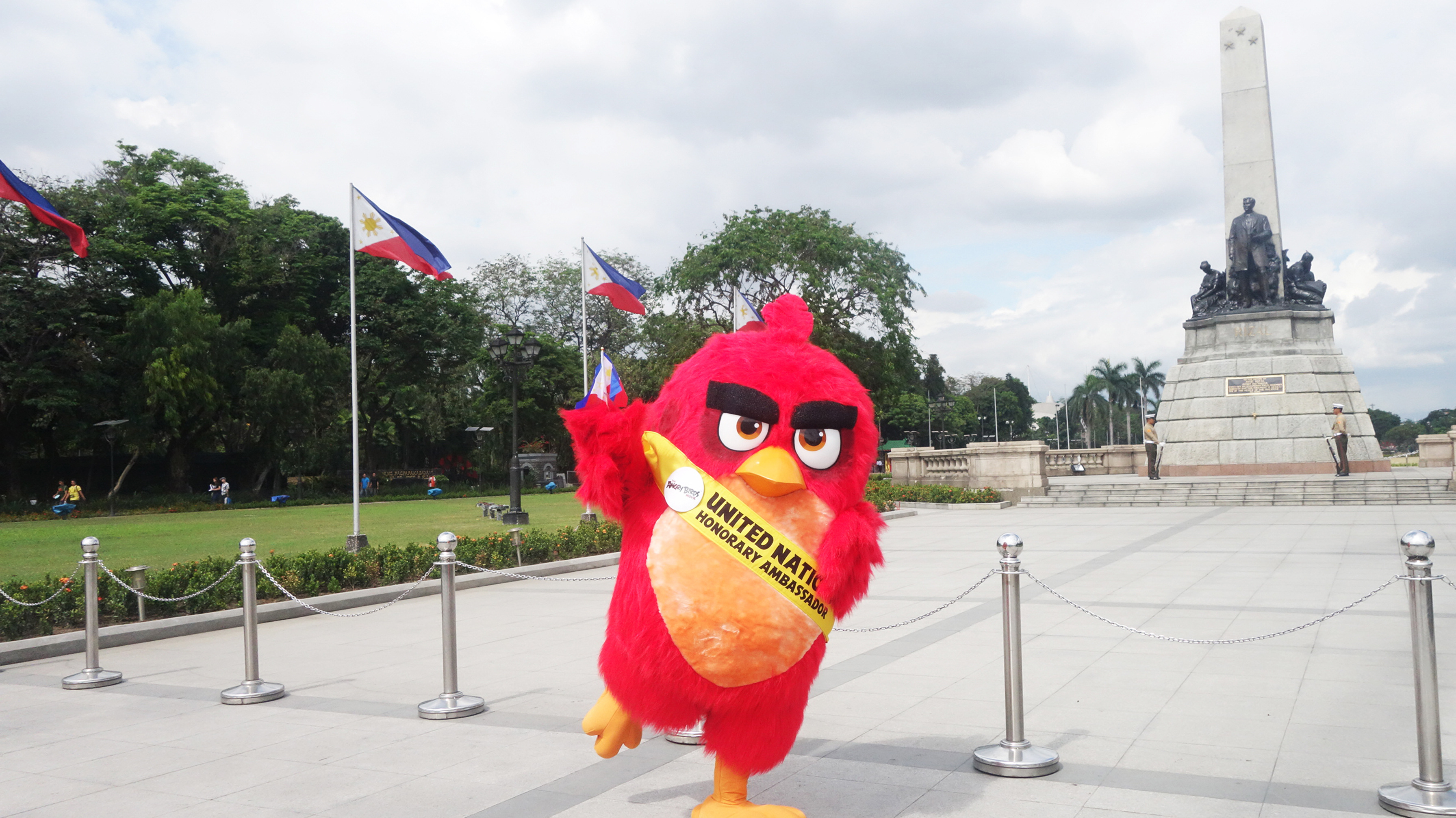 MANILLA, PHILIPPINES - March 18, 2016: Red visits Rizal Park for Columbia Pictures and Rovio Animation's ANGRY BIRDS in celebration of the International Day of Happiness, observed March 20th.