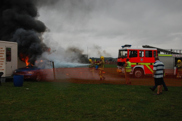 Burning car hurtles towards hot dog stand at Somerset Steam and Country Fair