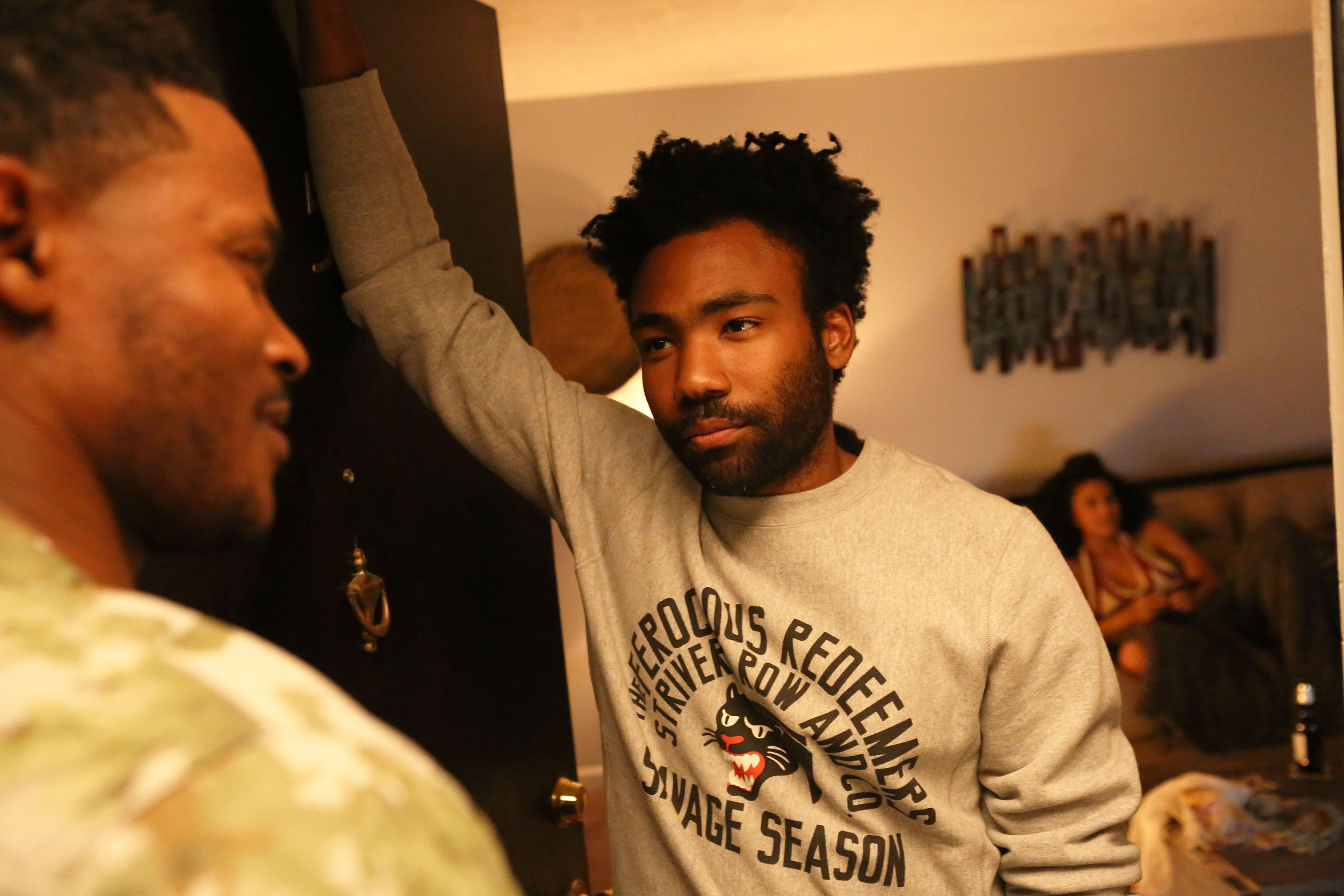 "ATLANTA -- ""The Jacket"" -- Episode 10 (Airs Tuesday, November 1, 10:00 pm e/p) Pictured: (l-r) Harold House Moore as Swiff, Donald Glover as Earnest Marks. CR: Quantrell Colbert/FX"