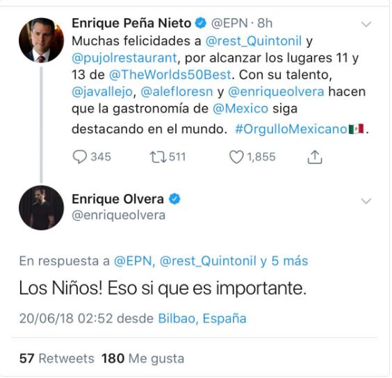 Peña Nieto felicita al chef Enrique Olvera y este le