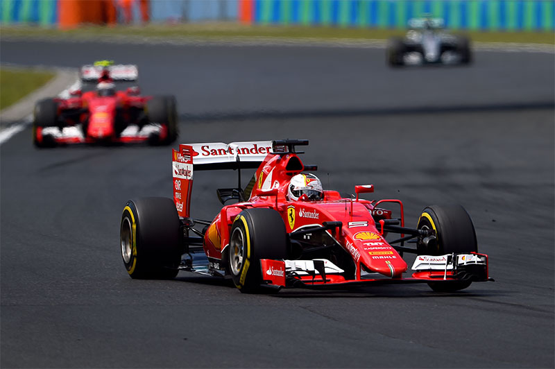 Sebastian Vettel leads the 2015 Hungarian Grand Prix.