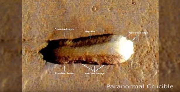 Annotated image of the 'alien mothership'