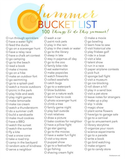 I Need Ideas For Decorating My Living Room: Summer Bucket List: 100 Things To Do This Summer