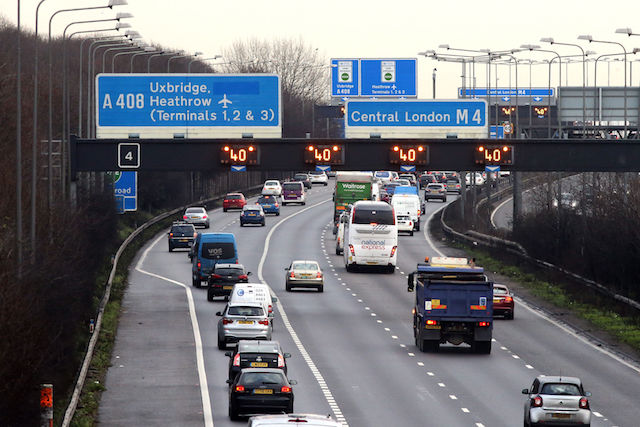 Traffic building on the M4 towards central London as London Underground workers launched a 24-hour strike which will cripple Tube services and cause travel chaos for millions of passengers.