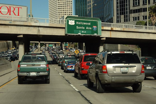 Freeway congestion in Los Angeles, California.