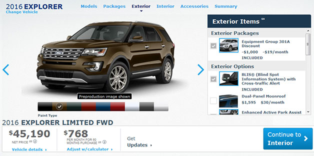 2016 Ford Explorer configurator page screencap