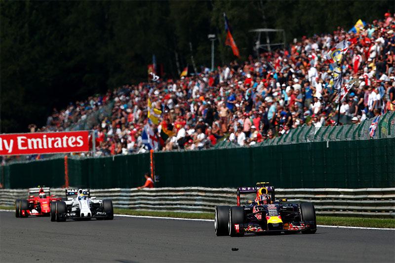 Daniil Kvyat drives in the 2015 Belgian Grand Prix.
