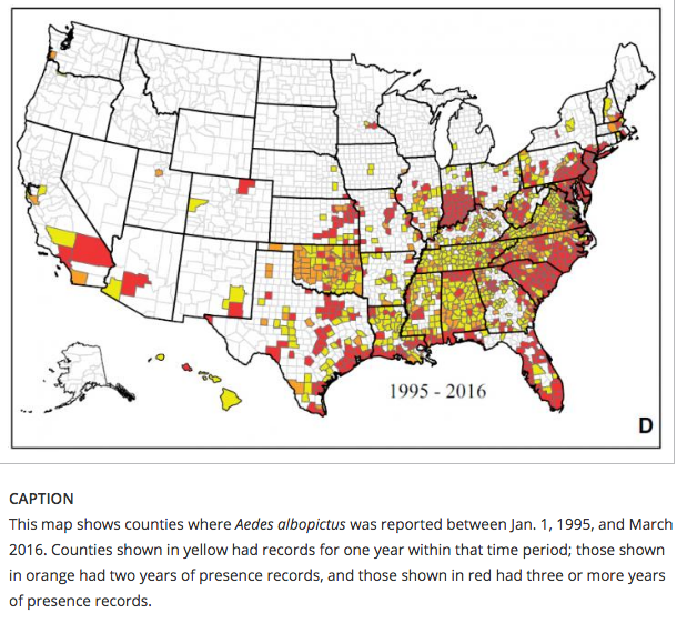 Official Map Finds Zikatransmitting Mosquitoes In Much Of US - Spread on a map us