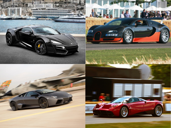 Lykan Hypersport, Bugatti Veyron Super Sport, Pagani Huayra, Lamborghini Reventon