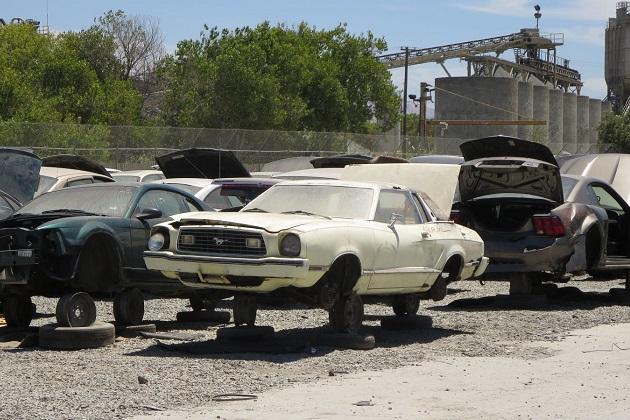 4気筒エンジンが搭載された1977年型フォード「マスタング」を、サンフランシスコの廃車置場で発見