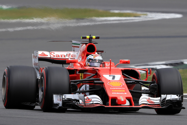 Ferrari's Kimi Raikkonen during the 2017 British Grand Prix at Silverstone Circuit, Towcester. PRESS ASSOCIATION Photo. Picture date: Sunday July 16, 2017. See PA story AUTO British. Photo credit should read: Tim Goode/PA Wire. RESTRICTIONS: Editorial use only. Commercial use with prior consent from teams.