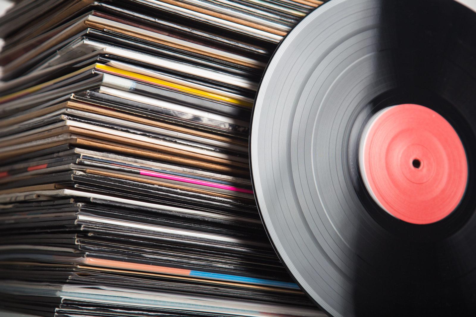 Stack of vinyl records closeup