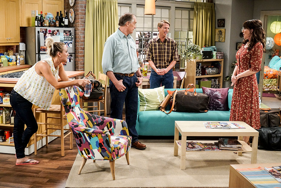 """The Conjugal Conjecture"" – Pictured: Penny (Kaley Cuoco), Wyatt (Keith Carradine), Randall (Jack McBrayer) and Susan (Katey Sagal). After Sheldon's mother and Leonard's father share an evening together, everyone deals with an awkward morning the next day. Also, Penny's family arrives for the wedding ceremony, including her anxiety-ridden mother, Susan (Katey Sagal), and her drug dealing brother, Randall (Jack McBrayer), on the 10th season premiere of THE BIG BANG THEORY, Monday, Sept. 19 (8:00-8:30 PM, ET/PT), on the CBS Television Network. Dean Norris guest stars as Colonel Williams, an Air Force Representative from the Department of Materiel Command. Christine Baranski, Laurie Metcalf, Judd Hirsch and Keith Carradine return. Photo: Monty Brinton/Warner Bros. Entertainment Inc. © 2016 WBEI. All rights reserved."