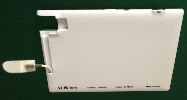 TravelCard battery pack for iPhone -- rear view