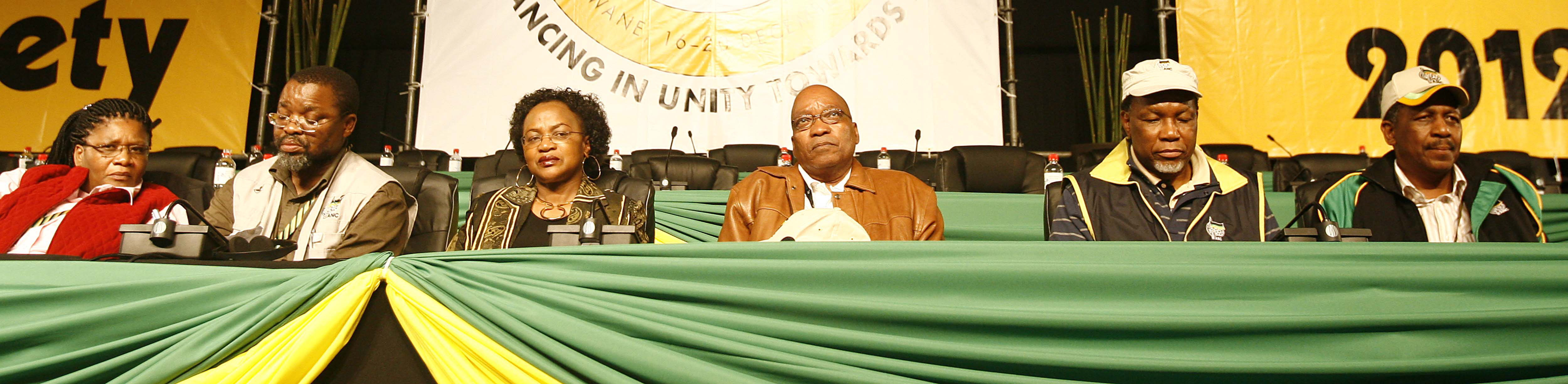 Jacob Zuma and the top six elected at Polokwane on 18 December 2007: Thandi Modise, Gwede Mantashe, Baleka...