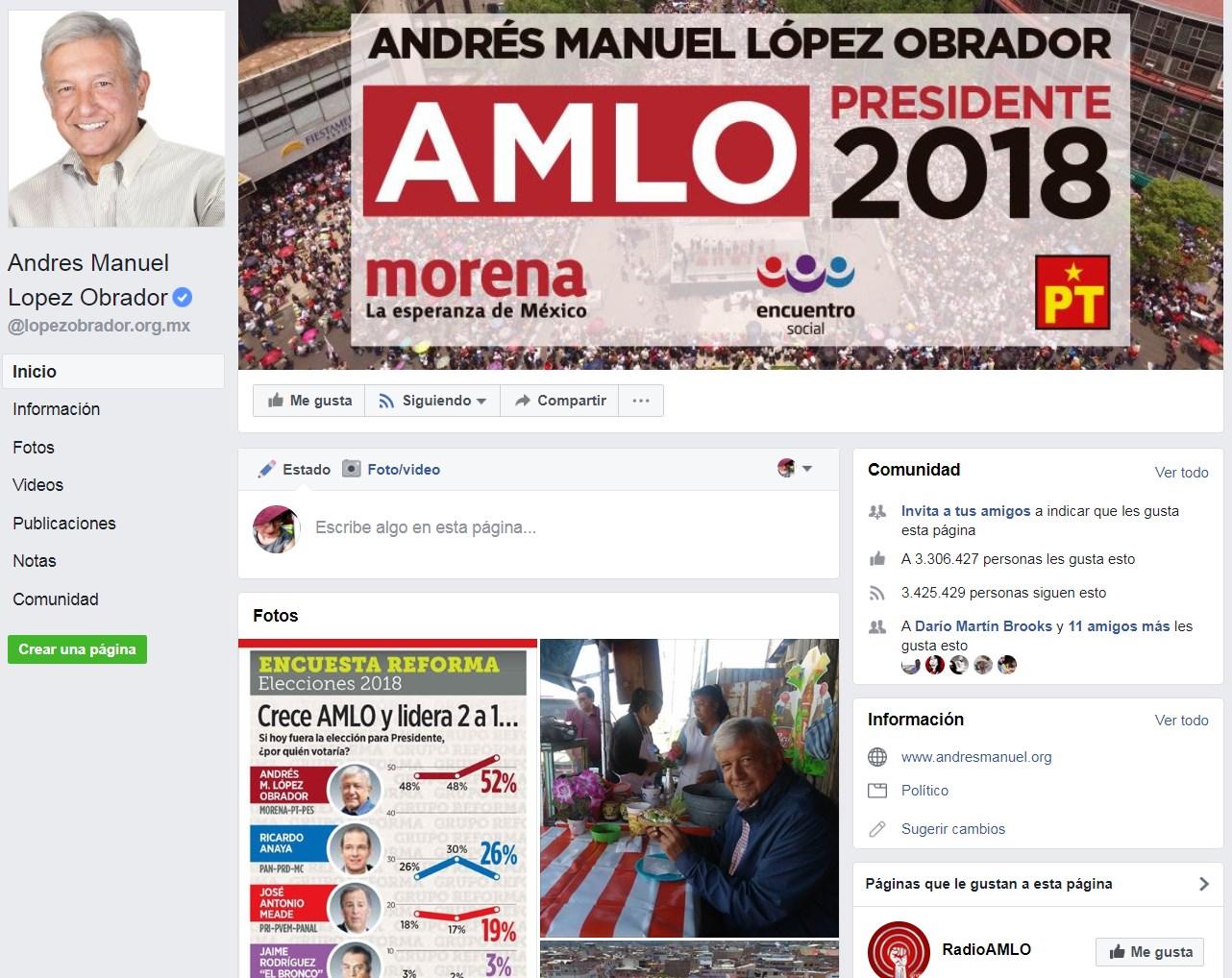 La página del candidato de la coalición Juntos Haremos Historia, López Obrador, solo tenía destacado...