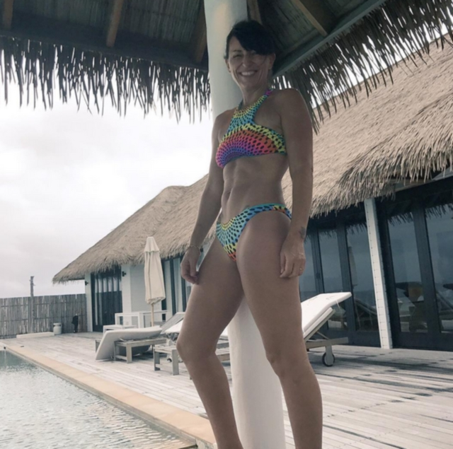 Davina McCall colourful bikini