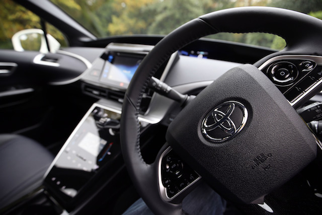 The dashboard of the first mass production dedicated Hydrogen fuel cell vehicle, the Toyota Mirai, goes through it paces in Denham, Buckinghamshire.