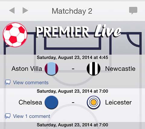 English Premier League screen shot