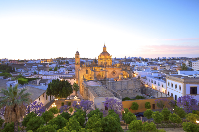 Mandatory Credit: Photo by Neil Farrin/robertharding/REX/Shutterstock (4450438a) The Cathedral of San Salvador at dusk, Jerez de la Frontera, Cadiz Province, Andalucia, Spain VARIOUS