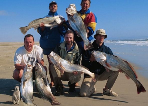 Meerkat photobombs fishermen's picture in Namibia