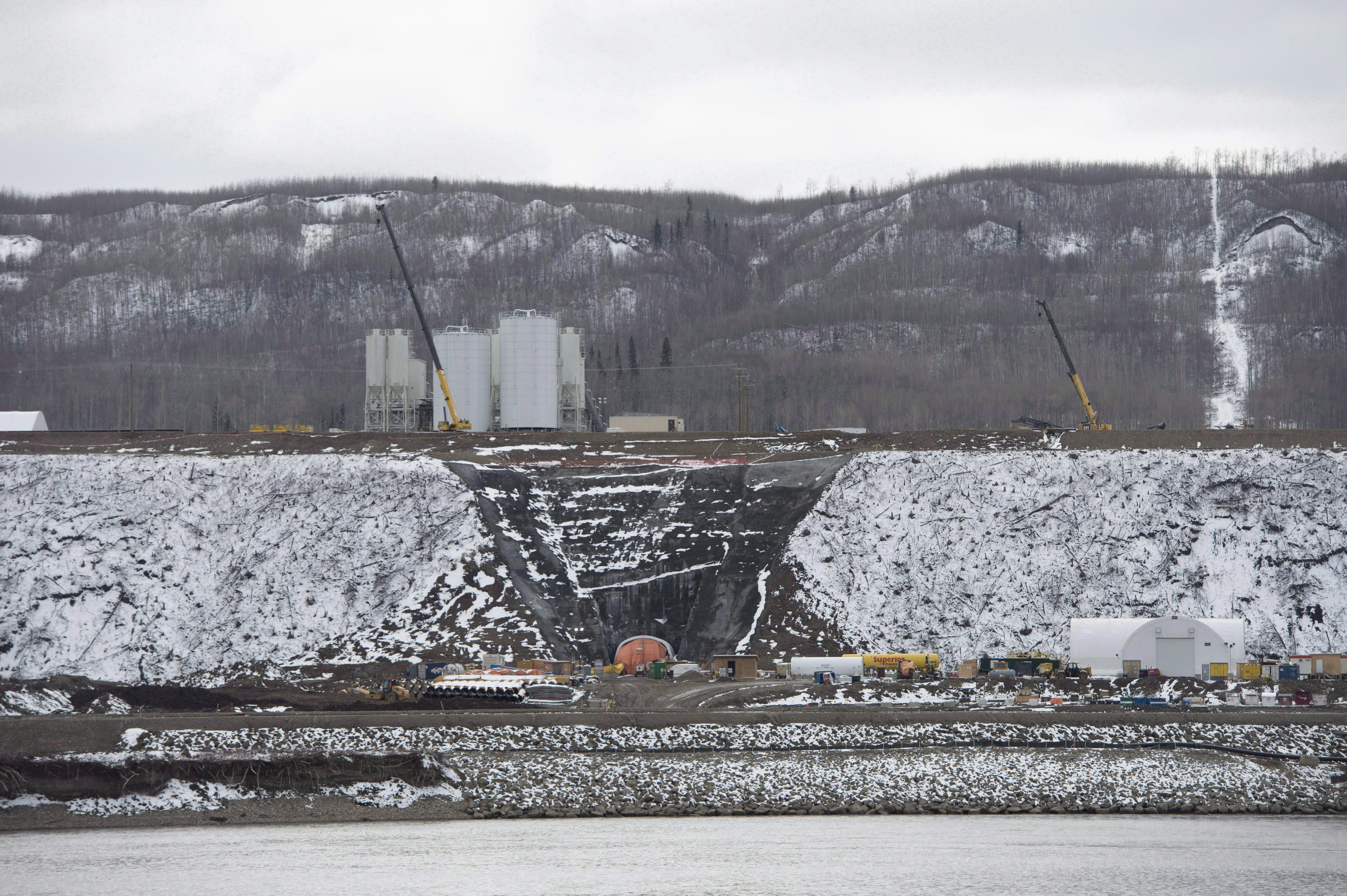 The Site C Dam location is seen along the Peace River in Fort St. John, B.C., Tuesday, April 18,