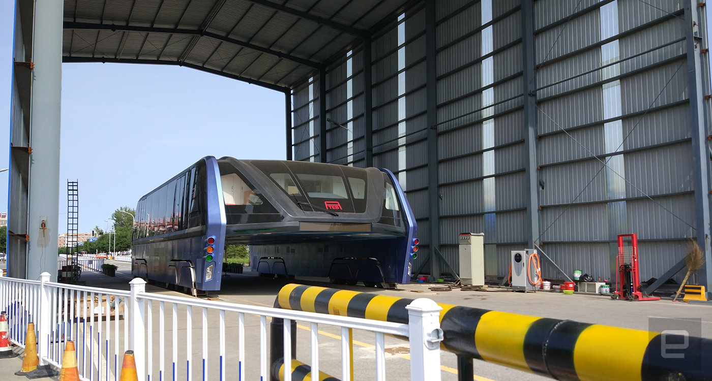 China's elevated bus test site has been abandoned for months