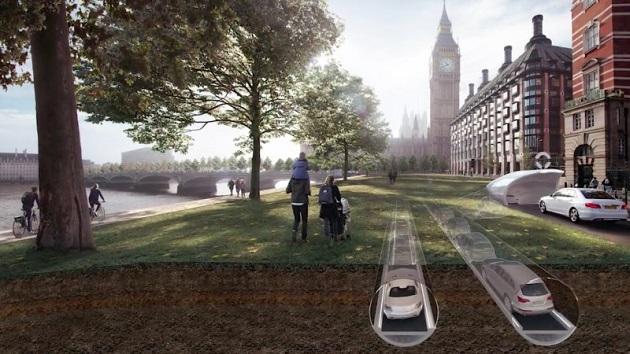 【ビデオ】ロンドンの交通渋滞を緩和するために考案された、ベルトコンベヤー式の地下トンネル「CarTube」