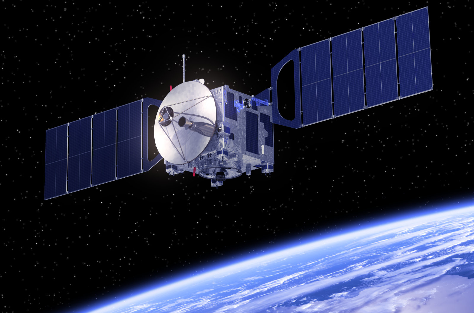 Satellite Orbiting Earth. 3D Scene. Elements of this image furnished by NASA.