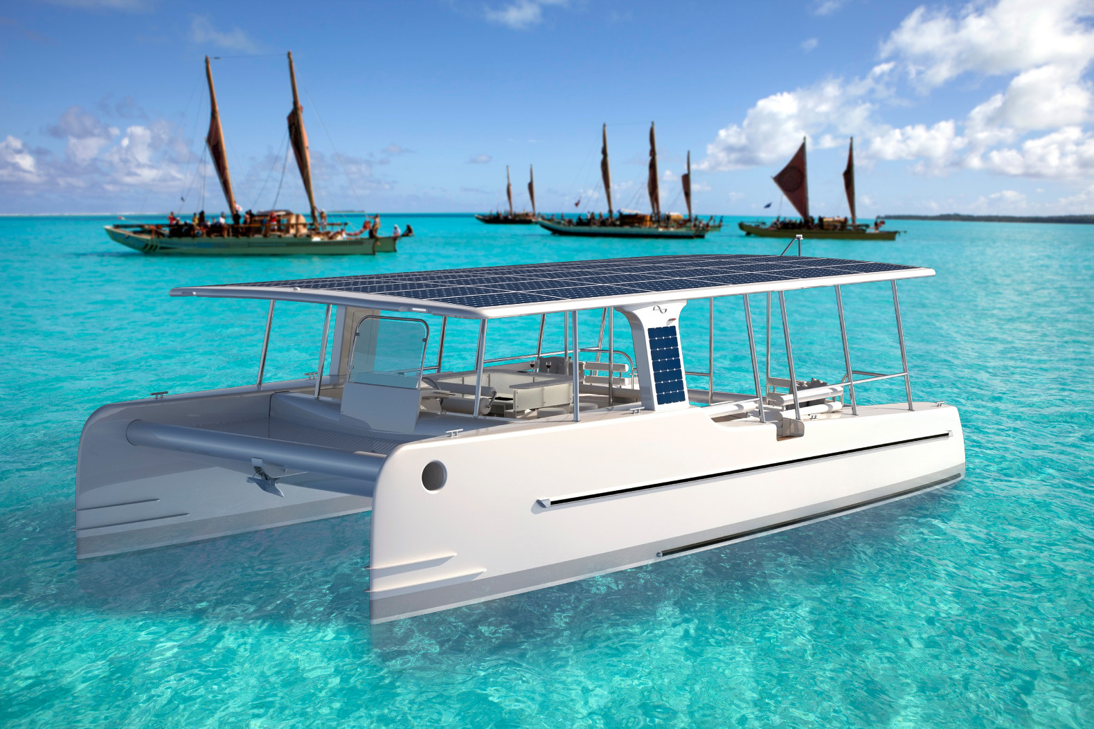 Six Sun Powered Ships Solar Bullet Train Educational Diy Kit For The Soelcat 12 A 39 Foot Catamaran Built From Lightweight Resilient Materials And By Electricity Generated On Board 809 Panels