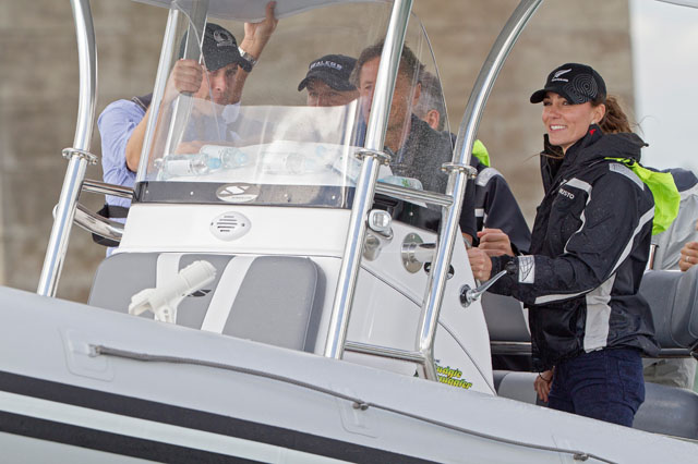 AUCKLAND, NEW ZEALAND - APRIL 11:  Prince William, Duke of Cambridge and Catherine, Duchess of Cambridge travel by Sealegs craft to Westpark Marina to sail with Team New Zealand at the Viaduct Basin on April 11, 2014 in Auckland, New Zealand. The Duke and Duchess of Cambridge are on a three-week tour of Australia and New Zealand, the first official trip overseas with their son, Prince George of Cambridge.  (Photo by David Rowland-Pool/Getty Images)