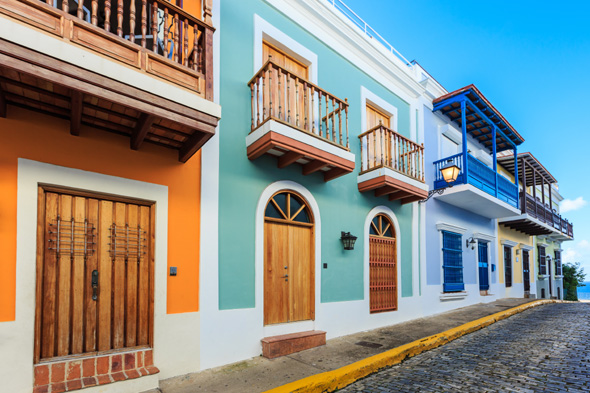 Street in old San Juan, Puerto Rico; Shutterstock ID 234381985; PO: aol; Job: production; Client: drone