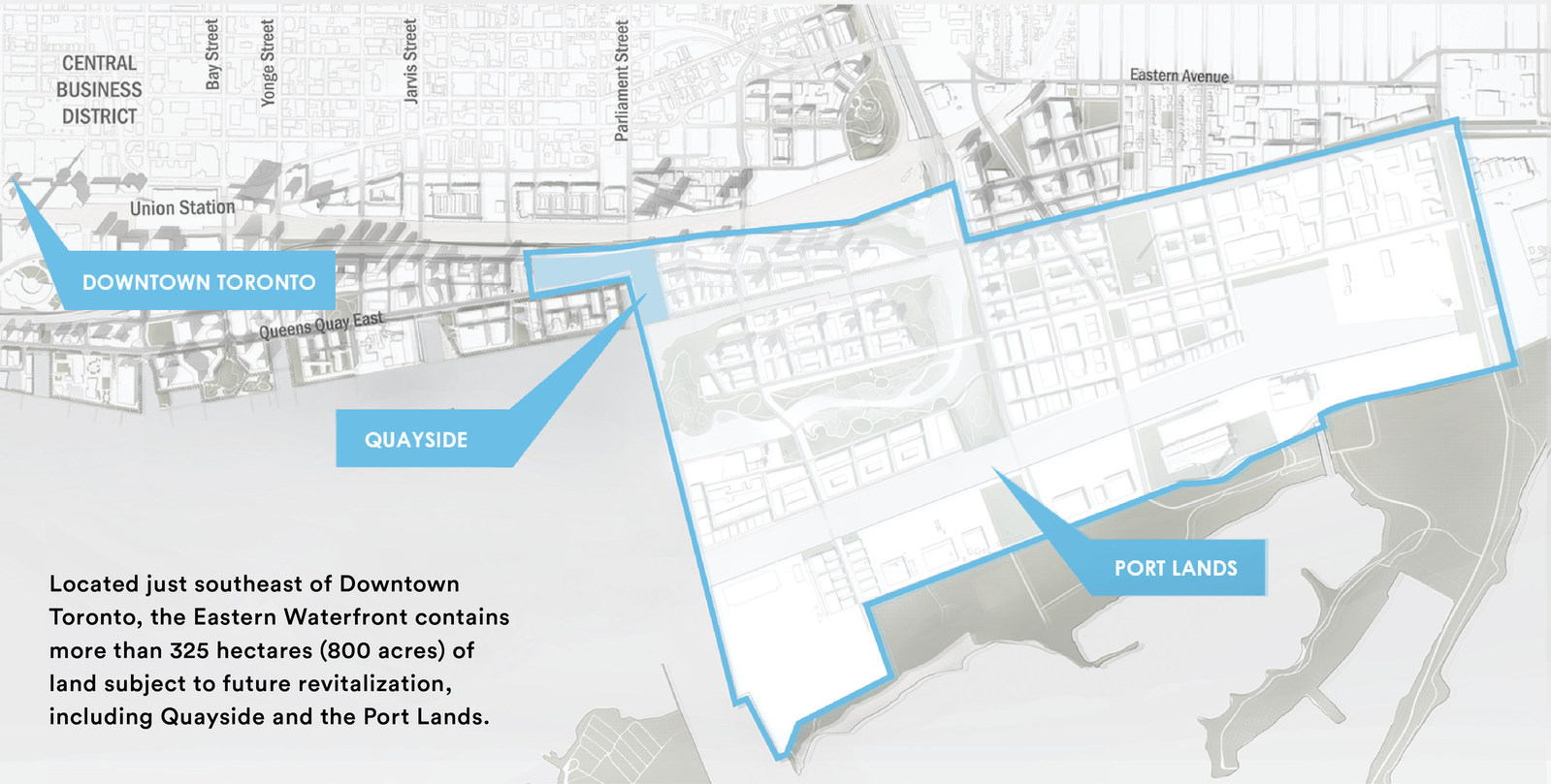 The planned location of Sidewalk Toronto on the city's eastern