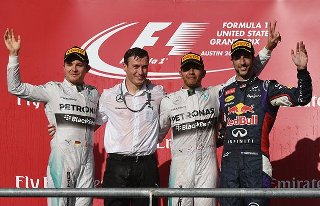The podium at the 2014 US Grand Prix.