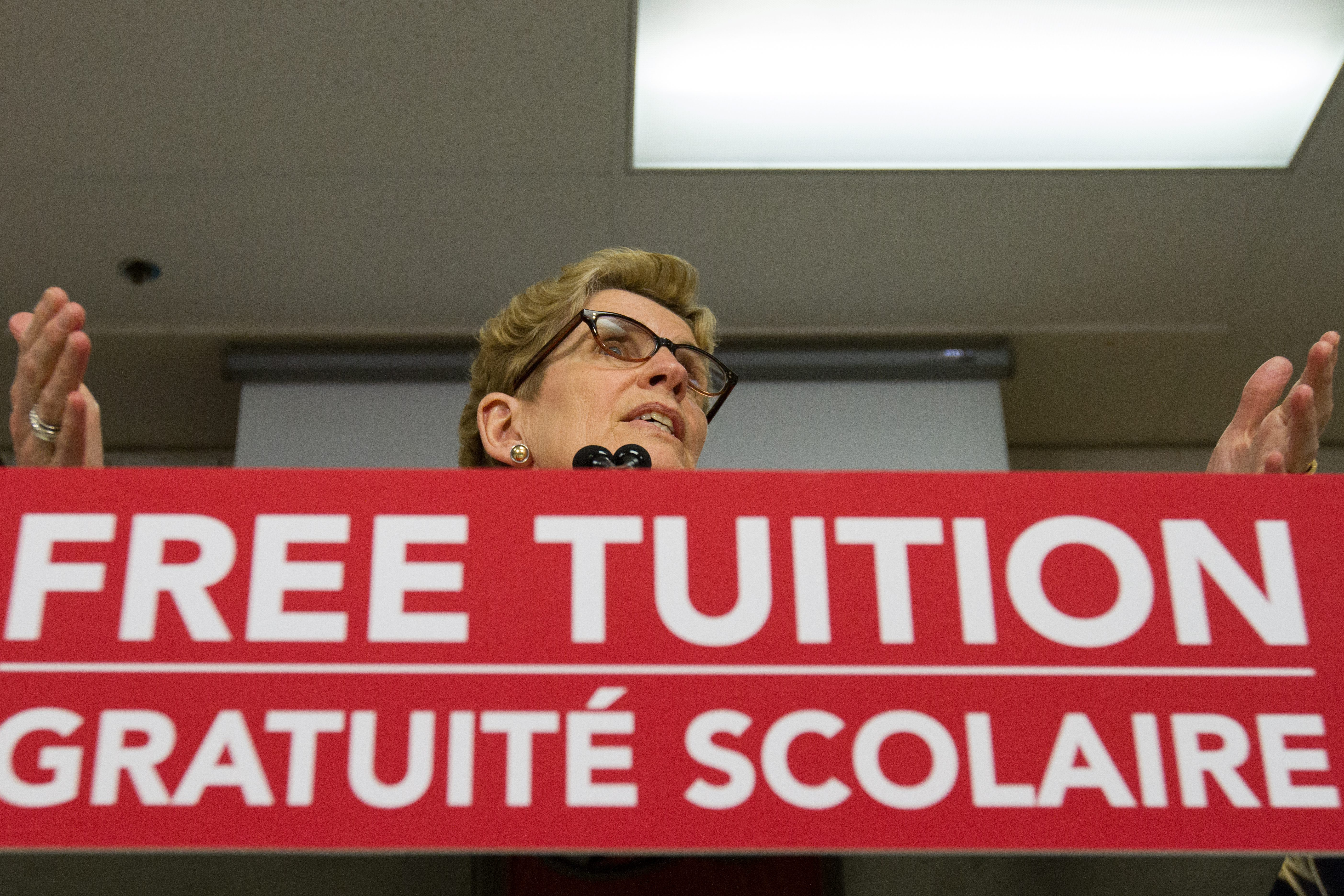 Ontario Premier Kathleen Wynne announces a new free tuition grant for students going into secondary education...