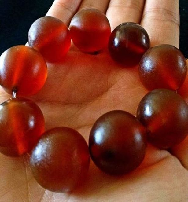 The skin is polished and made into blood-red beads, which are sold as bracelets and necklaces at up to £75 each