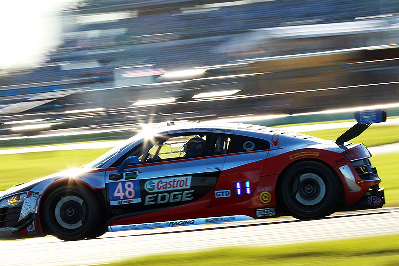The No. 48 Audi R8 LMS of Paul Miller Racing drives at the 2015 Rolex 24 at Daytona.