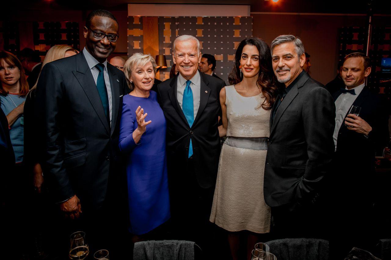 Tidjane Thiam, Tina Brown, Joe Biden, George und Amal Clooney, 20166