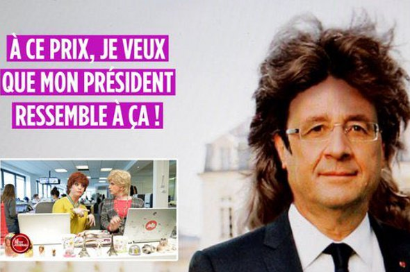 A Twitter post showing Hollande with a mullet