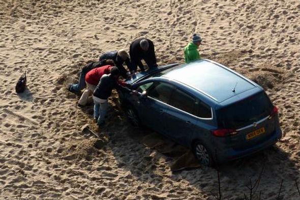 Vauxhall Zafira marooned on Tenby beach