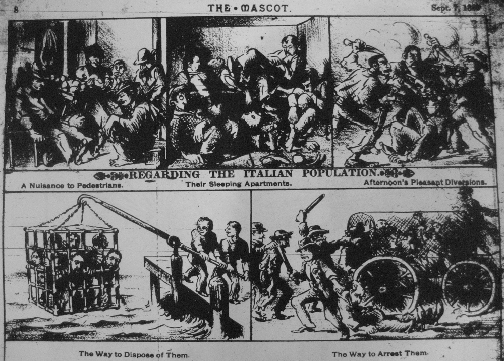 "An anti-Italian political cartoon from New Orleans ""The Mascot"" newspaper's Sept 7, 1888"