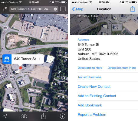 iOS Maps bookmarks