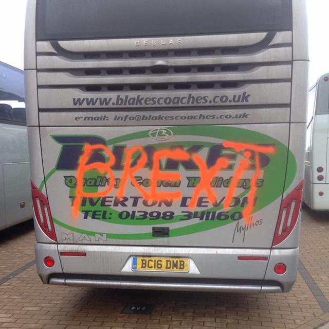 Vandals spray British tour bus with 'Brexit' in Belgium