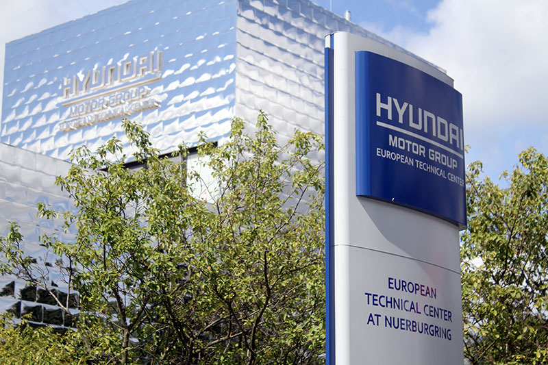 Signage at the Hyundai Motor Europe Nurburgring Technical Center in Germany.