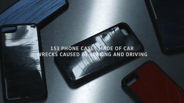 【ビデオ】フォルクスワーゲン、運転中に携帯電話を操作して事故を起こしたクルマのボディでiPhone用ケースを製作