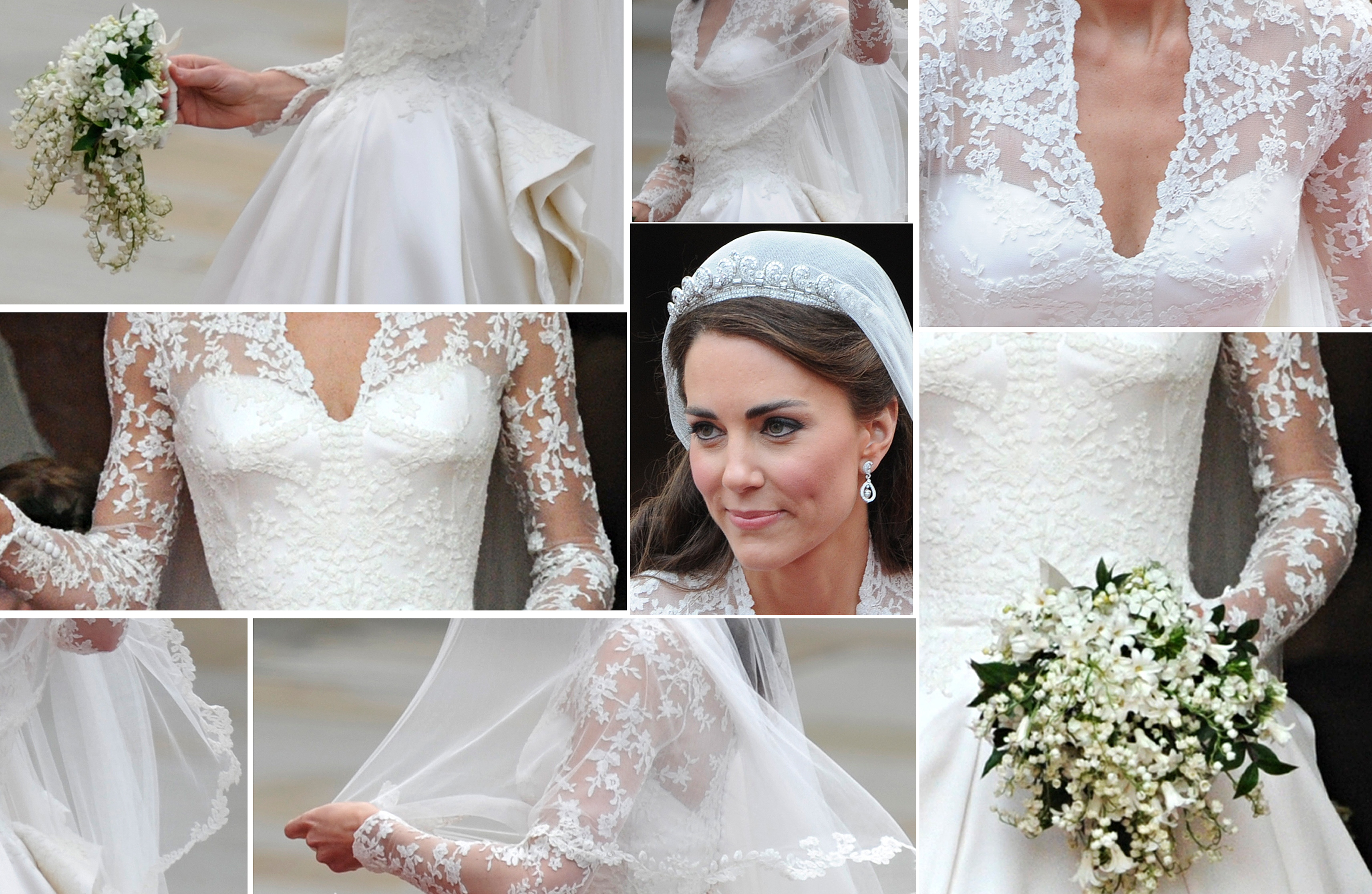 Duchess kates wedding dress included a special detail to make her photo getty kates gown received comparisons to both grace kellys queen elizabeths princess dianas wedding gowns junglespirit Images