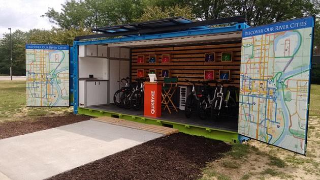 どこでもすぐに営業可能! 貨物用コンテナを利用した電動自転車のシェアリング・サービスが始動
