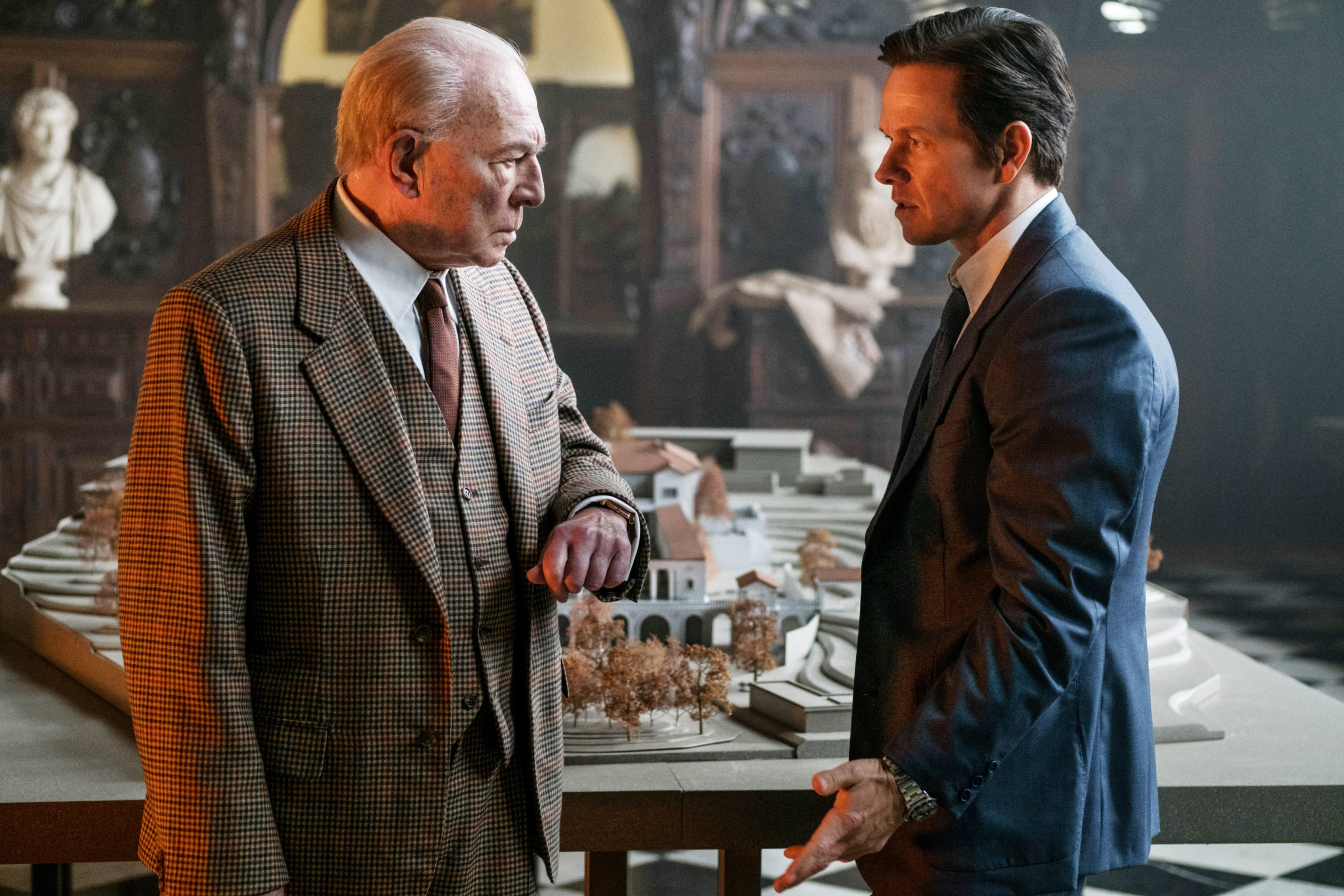 """Christopher Plummer, as J. Paul Getty, and Mark Wahlberg in """"All the Money in the"""