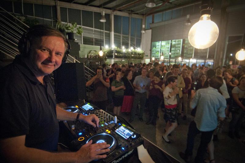 DJ Albo plays a set at an ALP Fundraiser on December 4, 2015 in