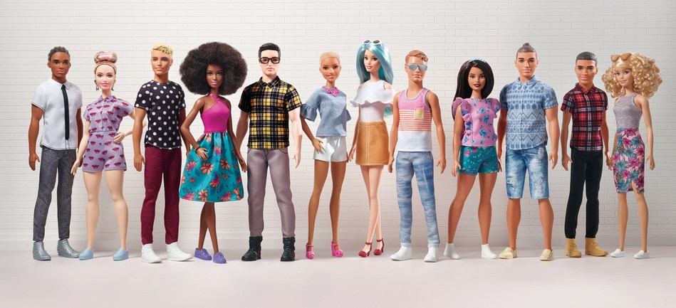 Today, Barbie� announced the expansion of its Fashionistas� line with 15 new modernized and diverse Ken� dolls, featuring three body types � slim, broad and original � seven skin tones, eight hair colors, nine hairstyles and on-trend fashions. These Ken dolls join the 100+ diverse looks launched in the Barbie Fashionistas line in the last three years, making it the most diverse fashion doll line in the marketplace. The new Fashionistas launch at retailers nationwide and on www.Barbie.com. (PRNewsfoto/Mattel)